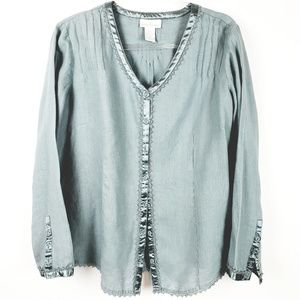 SOFT SURROUNDINGS - Sage Green 100%  Linen Tunic